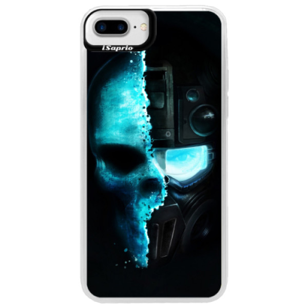 Neonové pouzdro Blue iSaprio - Roboskull - iPhone 7 Plus