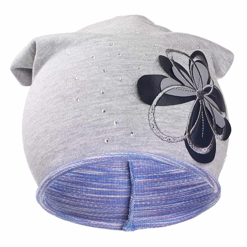 Podzimní dětská čepička New Baby květinka - fialová/110 (4-5r)
