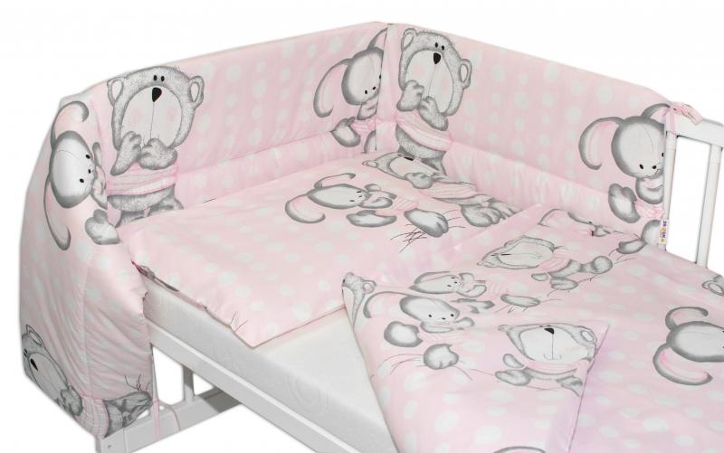 Mantinel s povlečením 135x100 cm, Medvídek s králíčkem Bubble - růžový - 135x100