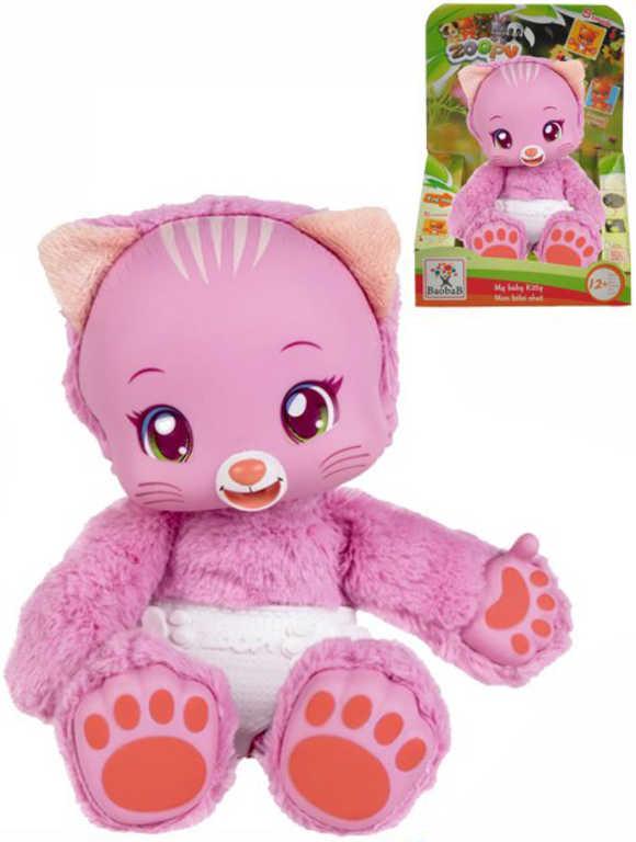 PLYŠ Zvířátko Zoopy Babies kočička 24cm tlapky svítící ve tmě na baterie Zvuk