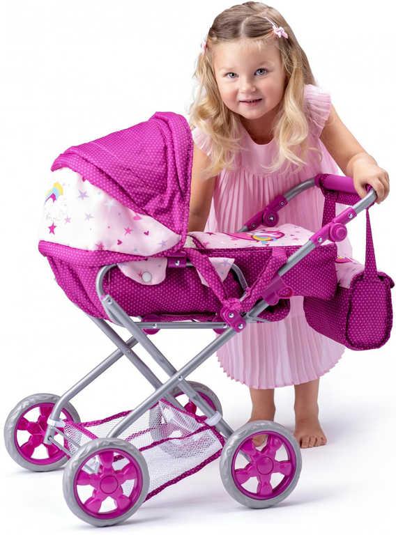 WOODY Kočárek Jednorožec malý hluboký pro panenku miminko trojkombinace 3v1