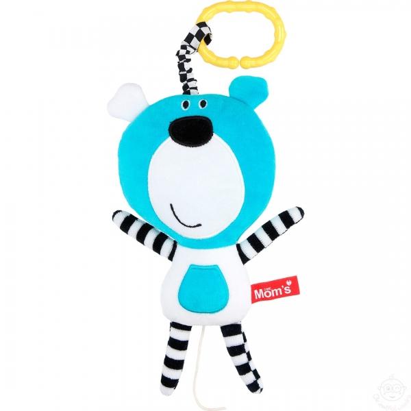 Závěsná edukační /plyšová hračka Méďa s melodií - tyrkysová