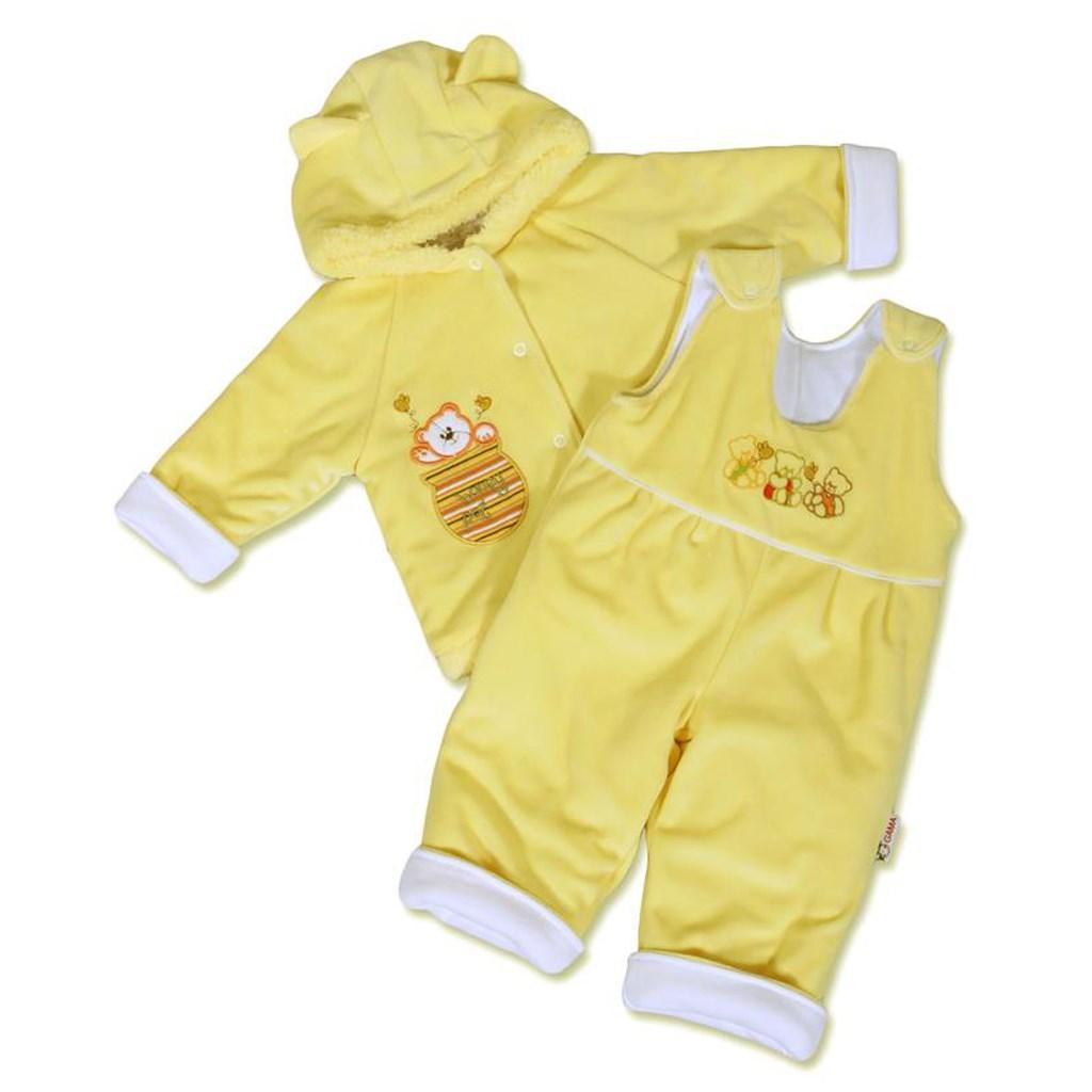 Kojenecká zimní souprava New Baby medvídek - žluto-bílá - žlutá/68 (4-6m)