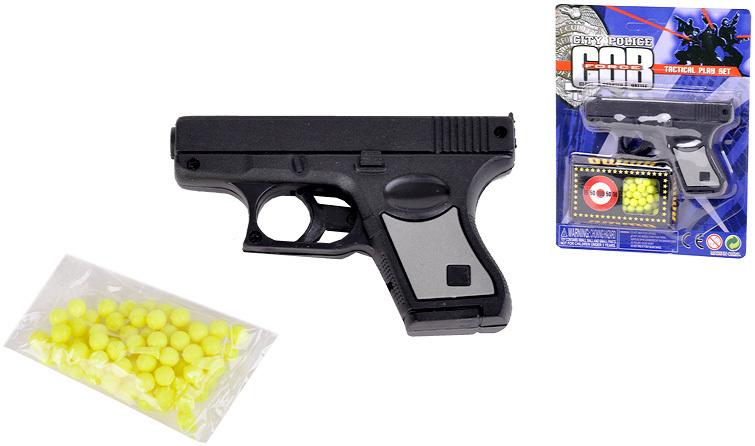 Pistole policejní + kuličky 10 cm na kartě Kuličkovka Set