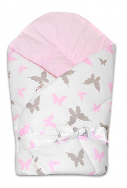 Oboustranná rychlozavinovačka 75x75cm se stuhou Motýlci - růžová