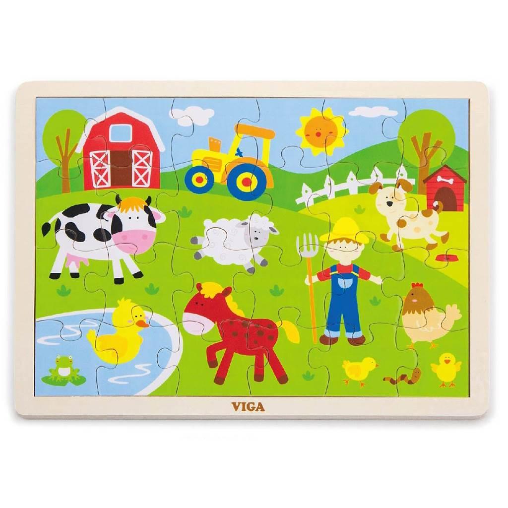 Dětské dřevěné puzzle Viga Farma - multicolor