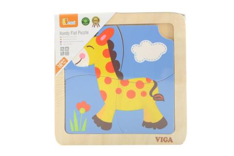 Dřevěné puzzle 4 dílky - žirafa