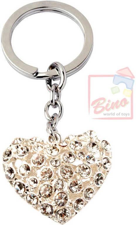 BINO Přívěšek zdobený s drahokamy srdce 10cm na klíče kov v sáčku