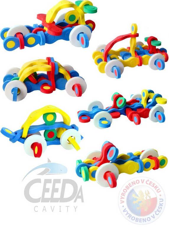 CEEDA STAVEBNICE Vozidla puzzlock pěnová kreativní 3D puzzle 22 dílků