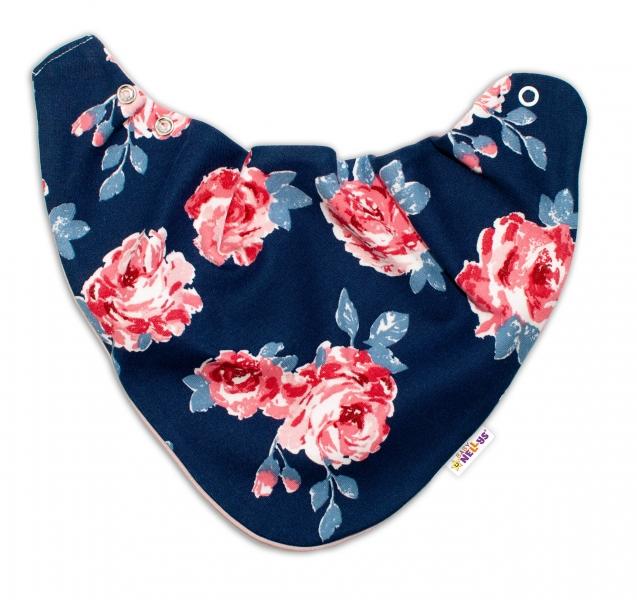 Baby Nellys Dětský šátek na krk Růže, pudrový/granát - univerzální