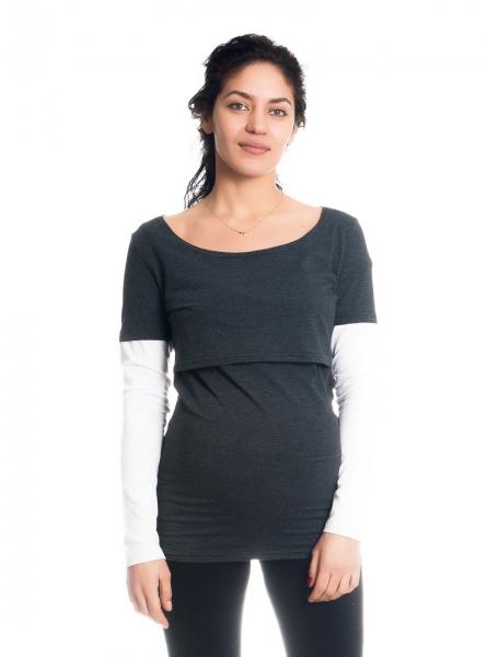 Těhotenské, kojící triko/halenka dlouhý rukáv Ria