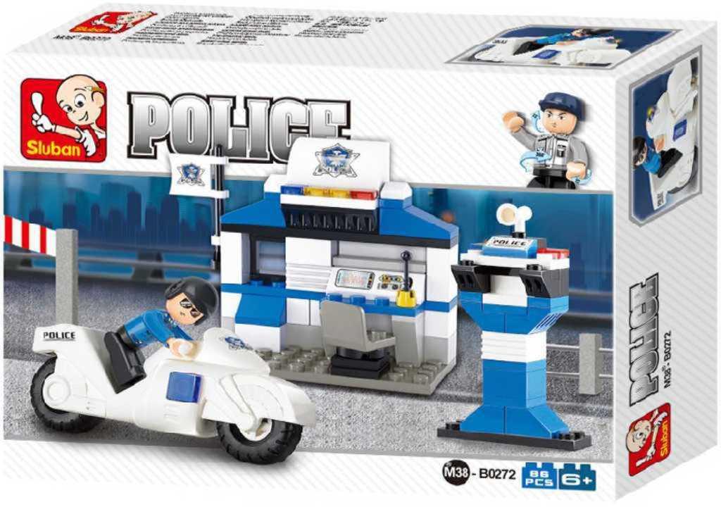 SLUBAN Stavebnice POLICE policejní stanice set 86 dílků + 1 figurka plast