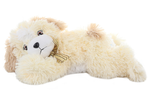 Plyš Pes ležící dlouhý chlup 45 cm