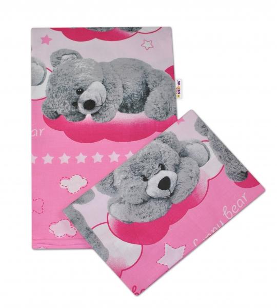 2-dílné bavlněné povlečení Medvídek hvězdička - růžové - 135x100cm - 135x100