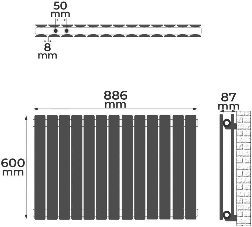 Horizontální radiátor, středové připojení, 600 x 886 x 69 mm