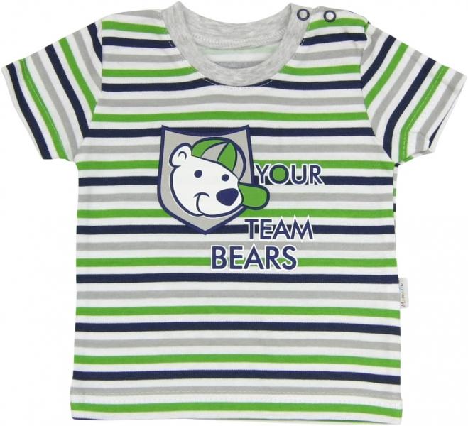 Bavlněné tričko Medvídek proužek - krátký rukáv - proužky, roz.