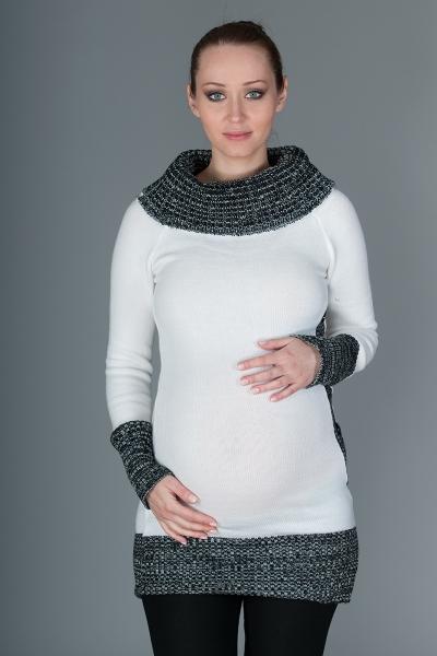 Těhotenský svetřík/tunika Carmen - bílá s melirkem