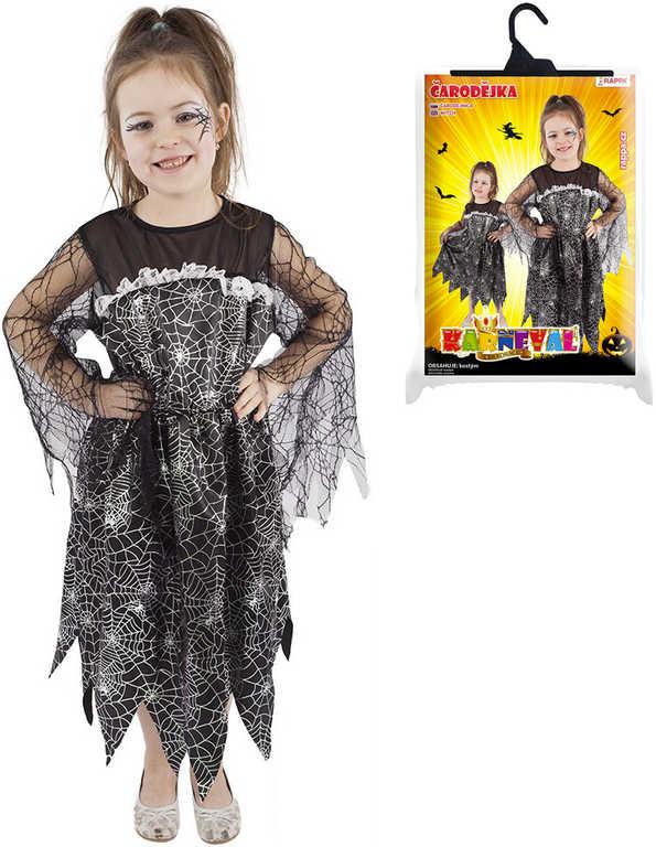 KARNEVAL Šaty čarodějnice Halloween vel.M (116-128cm) 6-8 let *KOSTÝM*