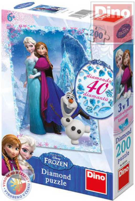 DINO Puzzle 200 dílků Ledové království (Frozen) set s drahokamy