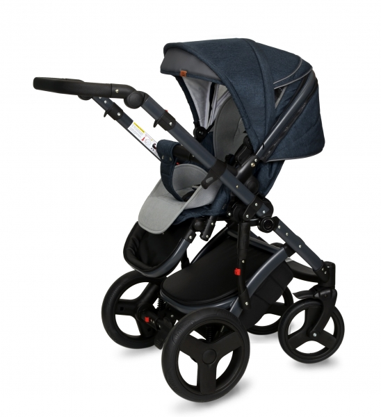 Kočárek Coto Baby 2 v 1 QUARA Eco 2021 - Len Navy Blue Dark Grey