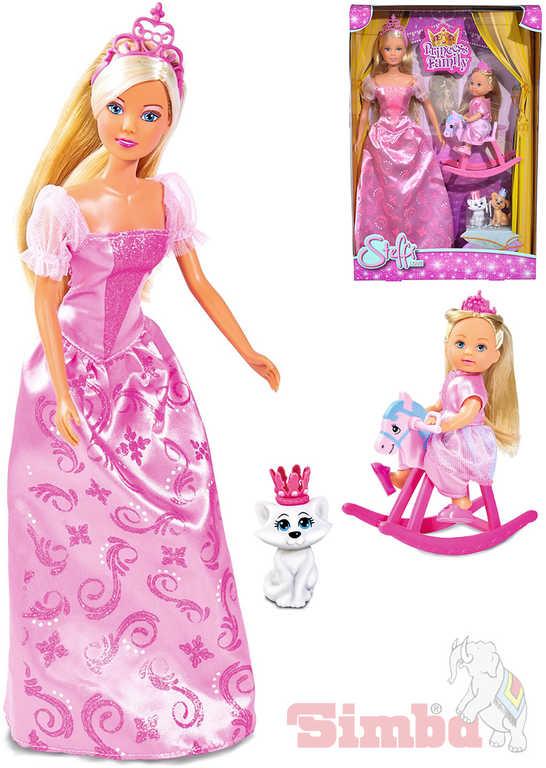 SIMBA Panenka Steffi 29cm + Evička Princess Family set se 2 pejsky a koníkem