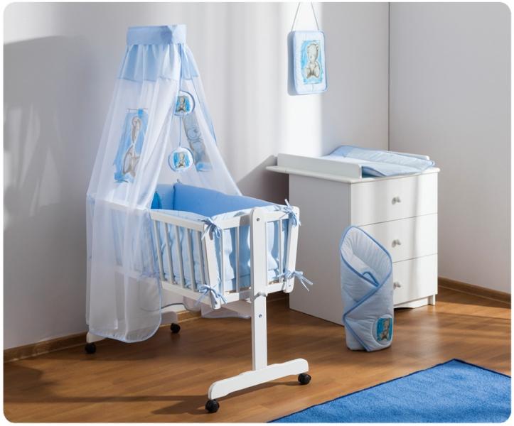 Baby Nellys Dřevěná kolébka s plnou výbavou Sweet Dreams by Teddy - modrá