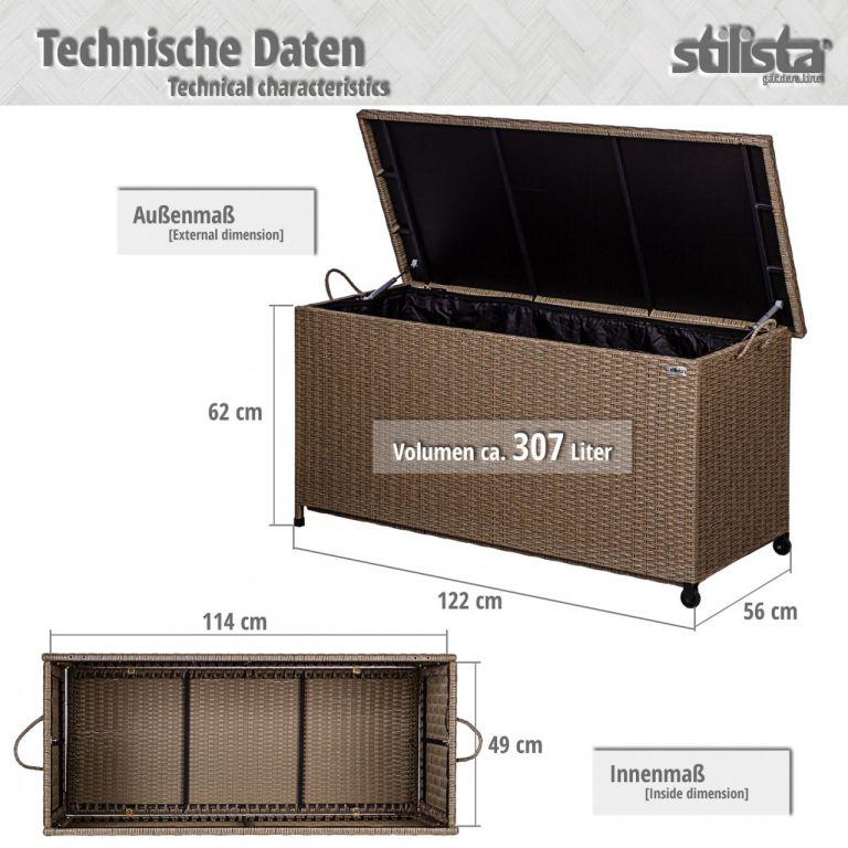 STILISTA Zahradní úložný box, šedý, 122 x 62 x 56 cm