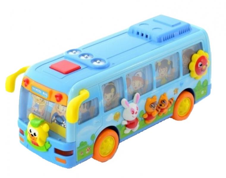 Euro Baby Interaktivní hračka s melodii AUTOBUS - sv.modrý
