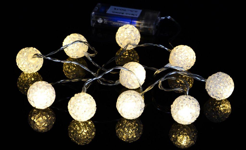 Vánoční řetěz - světelné koule, 10 LED, teple bílé