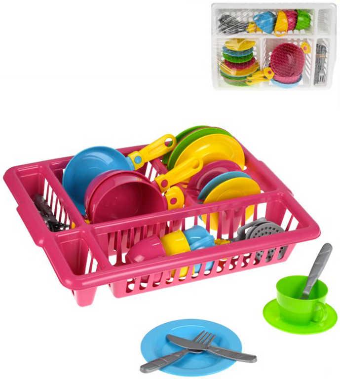 Sada dětské barevné nádobí s odkapávačem různé barvy plast