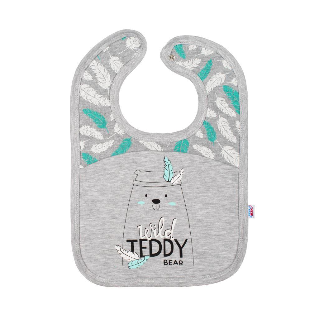 Kojenecký bavlněný bryndáček New Baby Wild Teddy - šedá