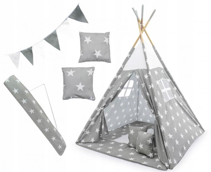 Stan pro děti teepee, týpí s výbavou - Hvězdičky, 120x120x180 cm, šedo/bílý