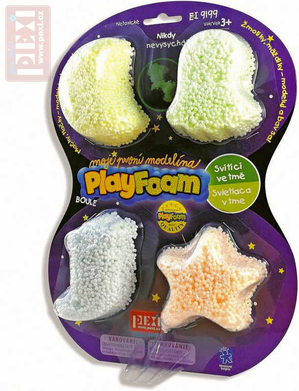 PEXI PlayFoam modelína pěnová svítí ve tmě dětská modelína set 4 barvy