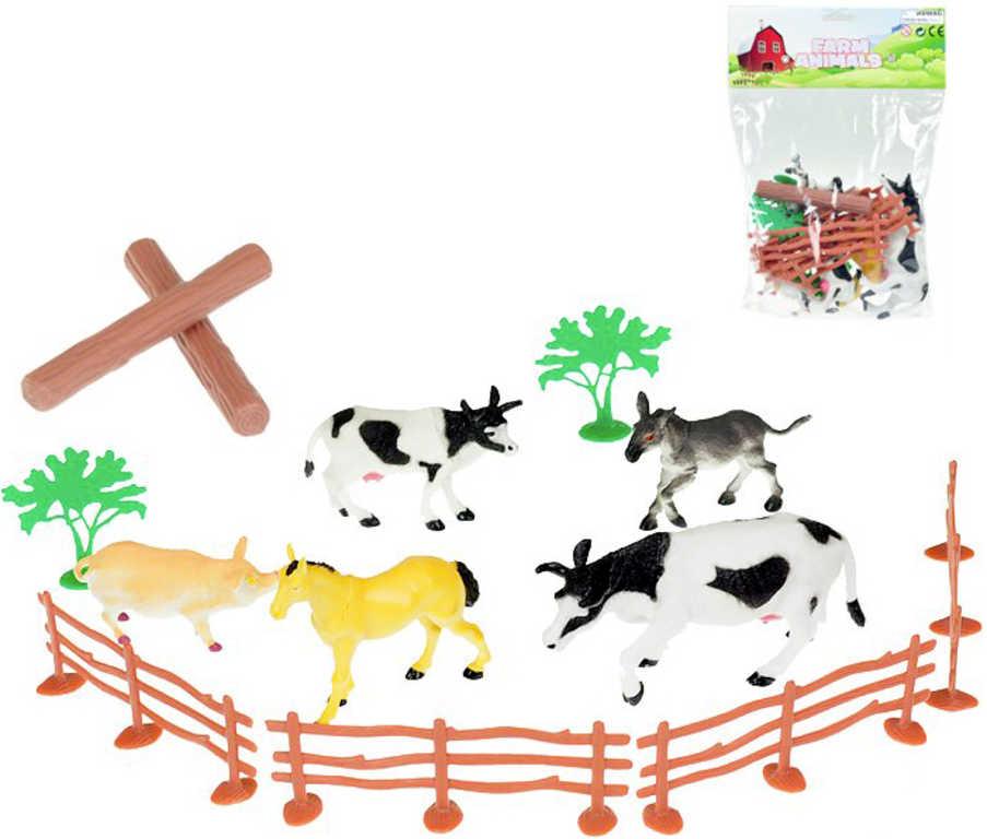 Zvířátka domácí 9-14cm set 5 ks s doplňky v sáčku farma