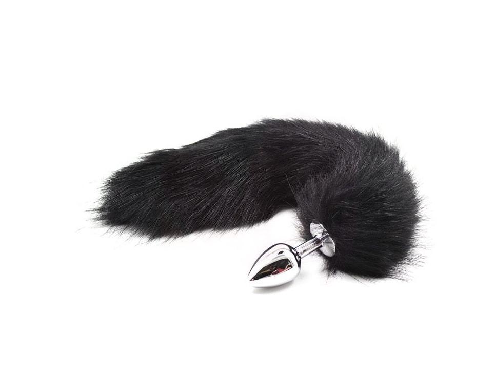 Kovový anální kolík s liščím ocáskem - černý