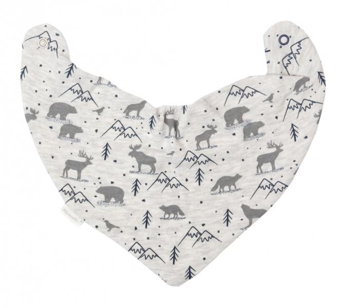 Mamatti Dětský šátek na krk Hory - šedý s potiskem - univerzální