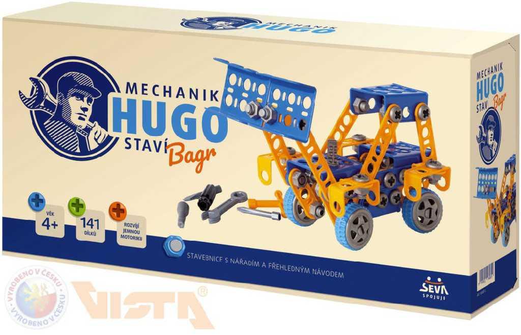 VISTA SEVA Mechanik Hugo staví Bagr STAVEBNICE 141 dílků set s nářadím v krabici