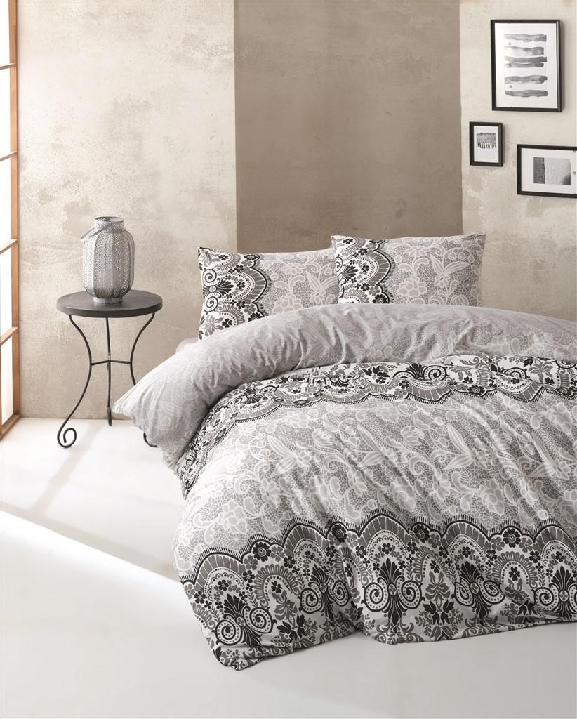 Povlečení francouzské bavlna 220x220,70x90 Ilkin grey, Výběr zapínání: