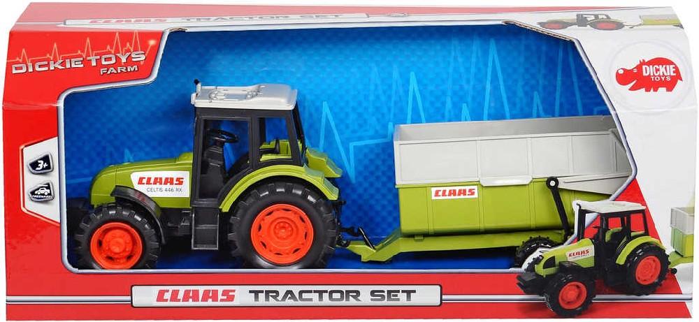 DICKIE Traktor Class 36cm set s přívěsem volný chod plast