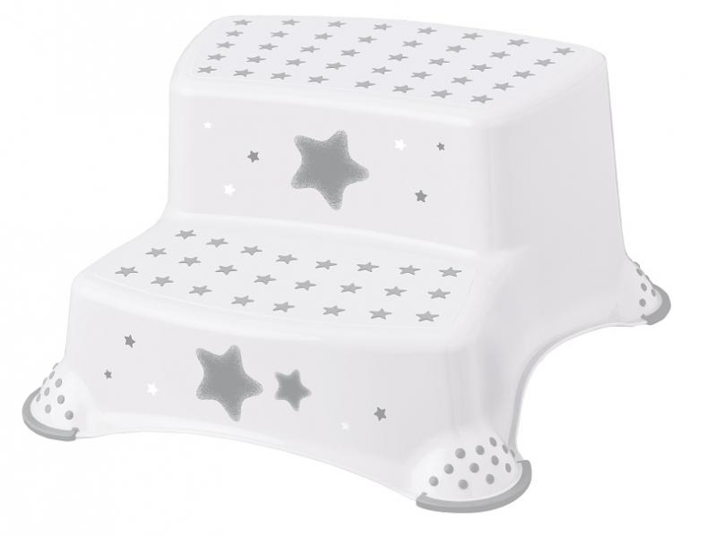 Stolička - schůdky s protiskluzem Baby Star - bílé