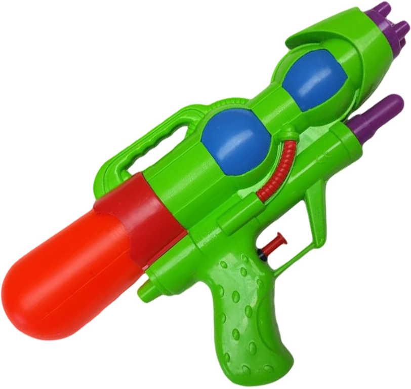 Pistole vodní s pumpou 28cm se zásobníkem na vodu plast 3 barvy v sáčku