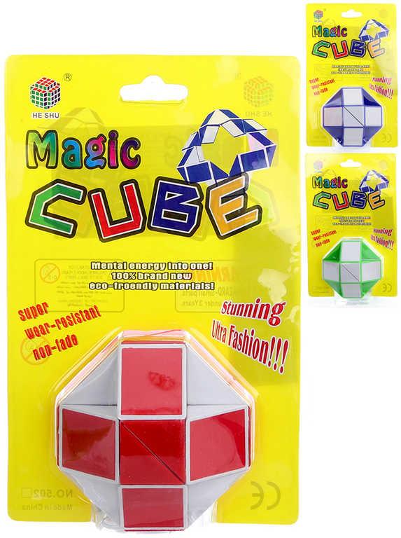 Kostka magická skládačka had dětský hlavolam - 3 barvy