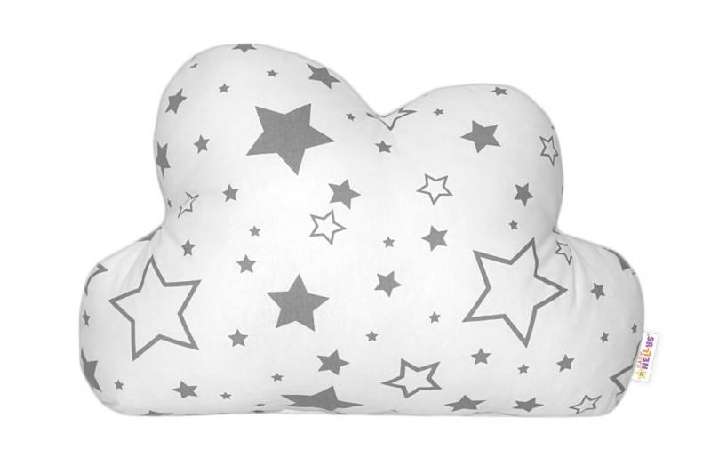Mráček - dekorační polštářek - šedé hvězdy a hvězdičky