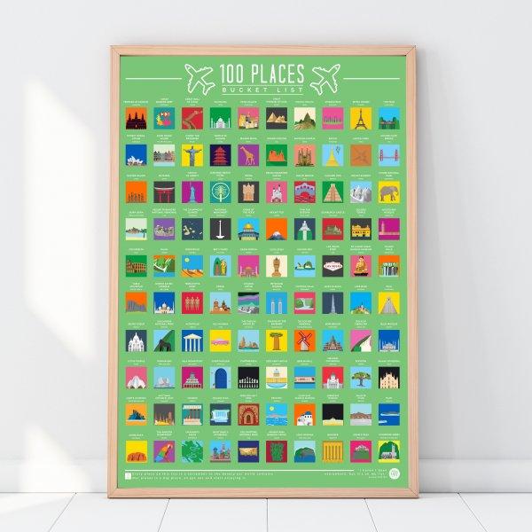 Stírací plakát 100 míst k navštívení - Bucket list