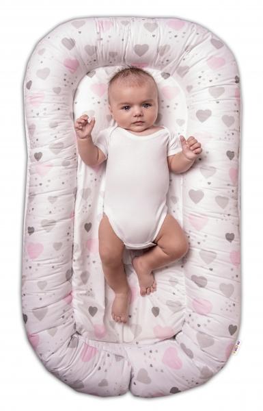 Maxi oboustranné hnízdečko pro miminko Srdíčka a hvězdičky - růžový