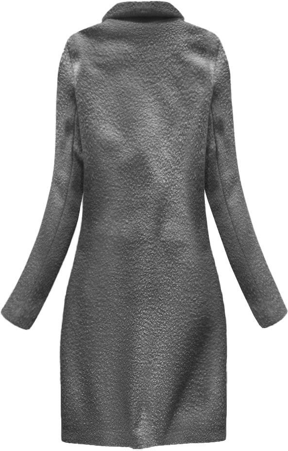 Tmavě šedý vlněný beránkový kabát (23108)
