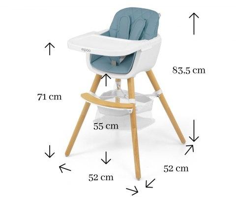 Milly Mally Luxusní jídelní stoleček, křesílko Espoo 2v1, věk: 6 - 36m, modrá