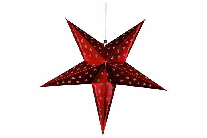 Vánoční hvězda s časovačem 60 cm, 10 LED, červená