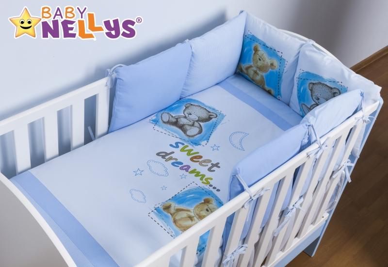 Baby Nellys Povlečení s polštářkovým mantinelem Sweet Dreams by TEDDY - modrý - 120x90