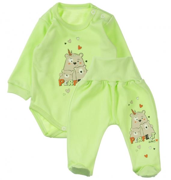 MBaby 2-dílná kojenecká sada Perfect family - zelená, vel.